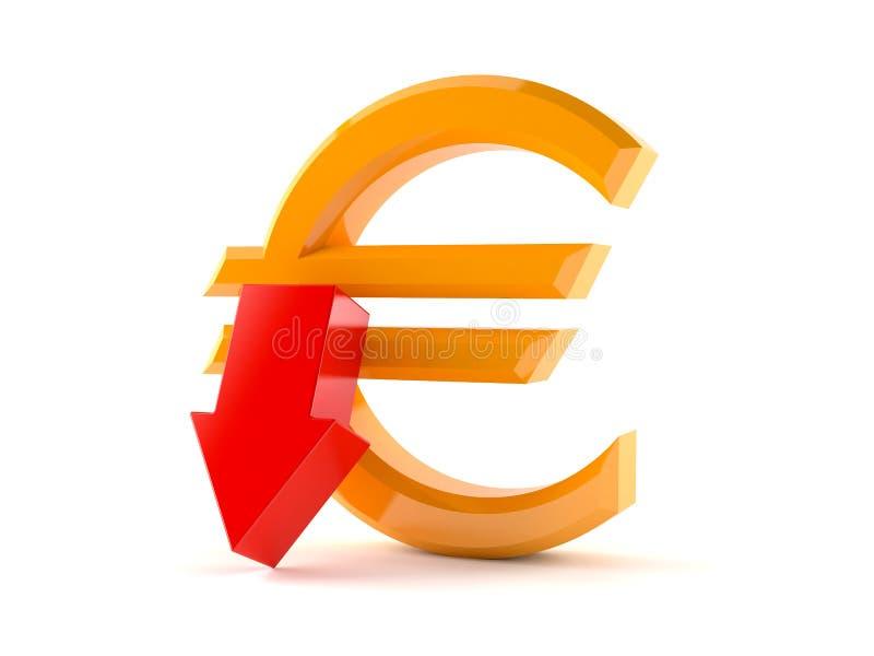 Euro simbolo con la freccia rossa illustrazione vettoriale