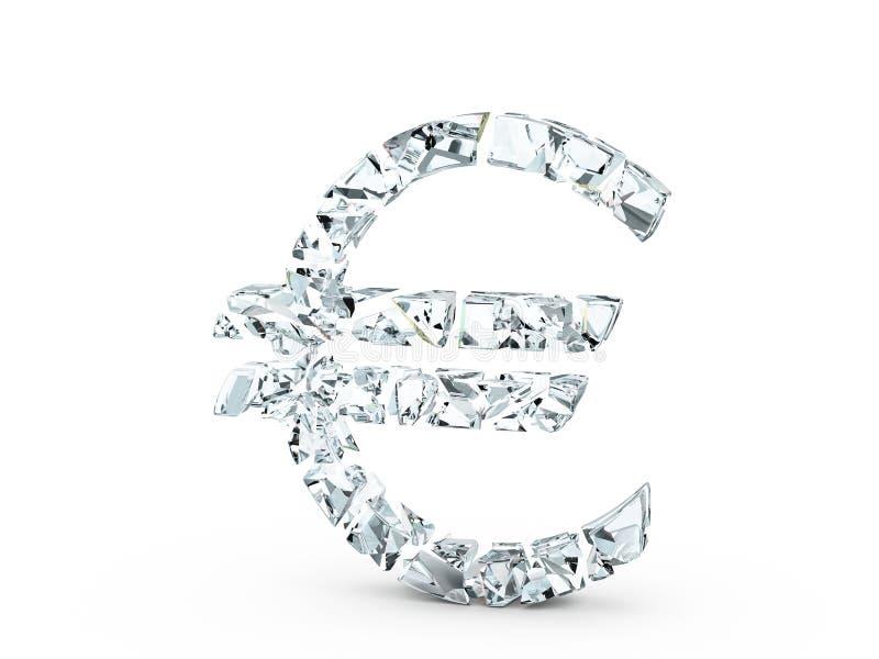 Euro simbolo di vetro rotto illustrazione di stock