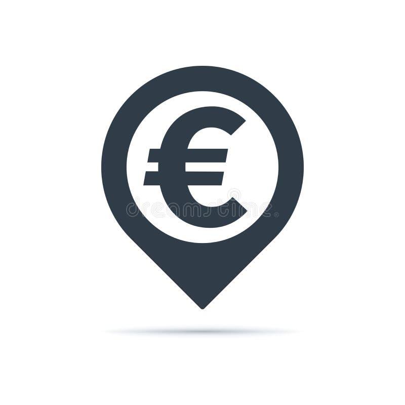 Euro simbolo, icona del perno di indirizzo illustrazione vettoriale