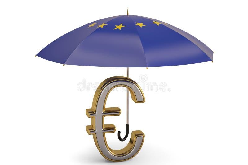Euro simbolo sull'ombrello illustrazione 3D illustrazione vettoriale