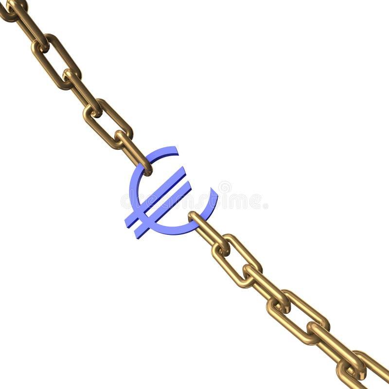 Euro- sinal em uma corrente do ouro. ilustração do vetor