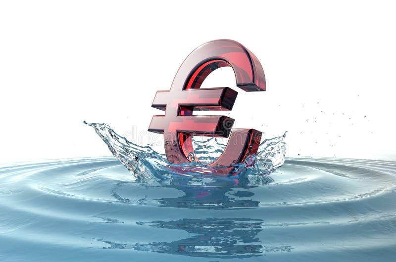 Euro- sinal que cai na água com respingo ilustração stock