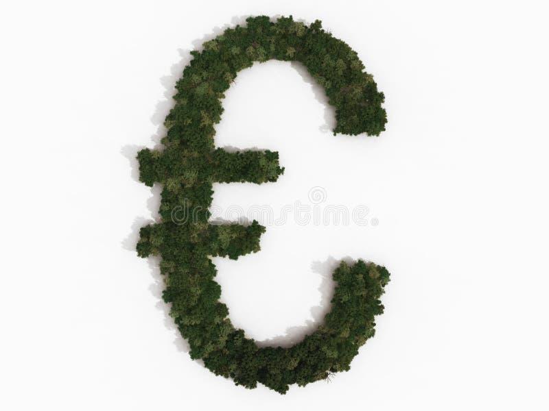 Euro- sinal realístico feito de várias árvores ilustração do vetor