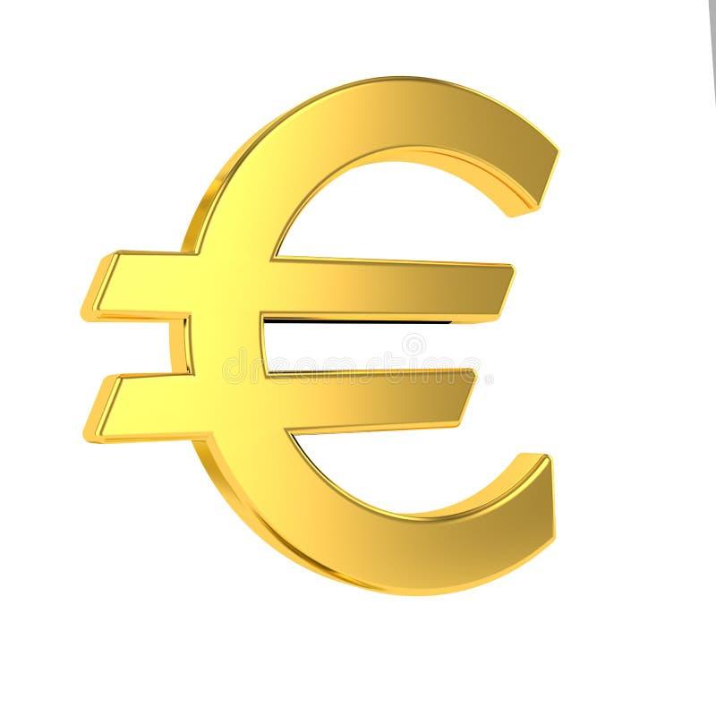 Euro- sinal euro- s?mbolo 3d dourado isolado no fundo branco rendi??o 3d ilustração do vetor