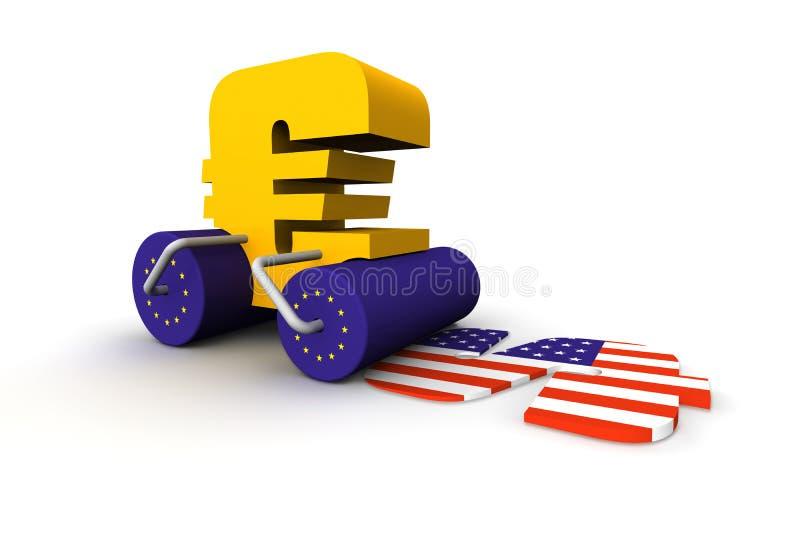 Euro smashing dollar. A conceptual rendering of an euro bulldozer driving over a dollar stock illustration