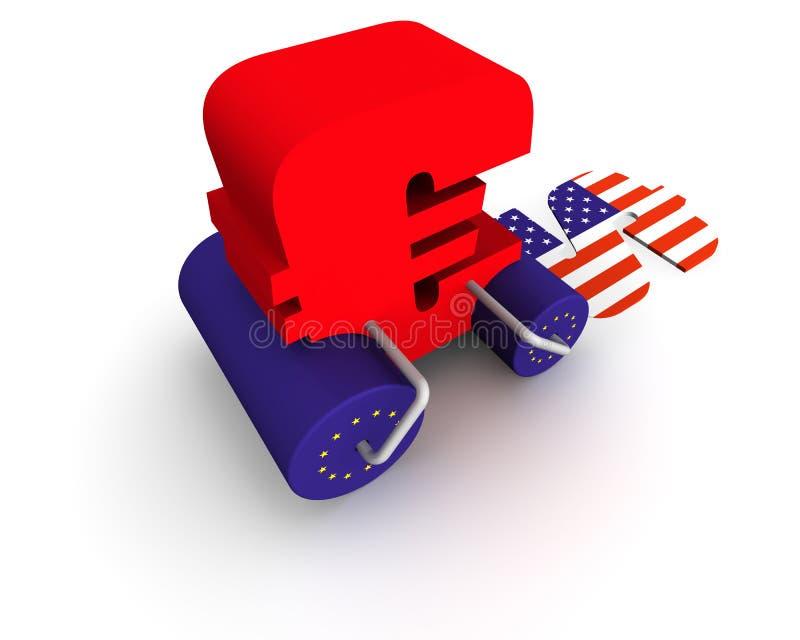 Euro smashing dollar. A conceptual rendering of an euro bulldozer driving over a dollar vector illustration