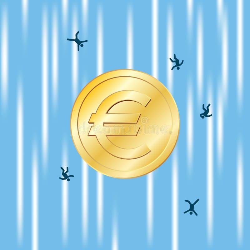 Euro Spadek Swobodny royalty ilustracja