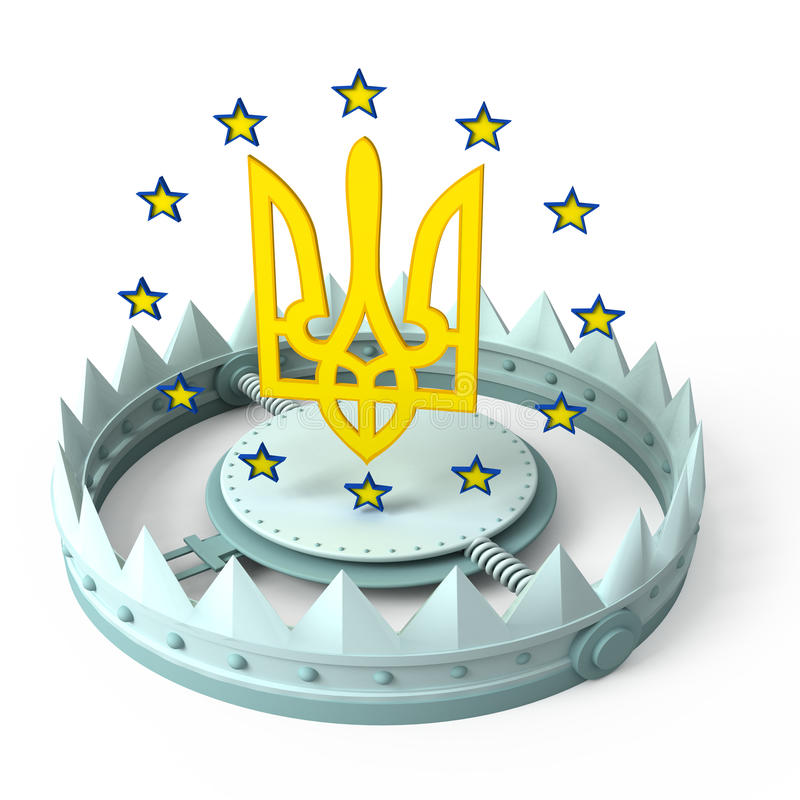 Euro stars and ukrainian coat of arm with trap stock illustration