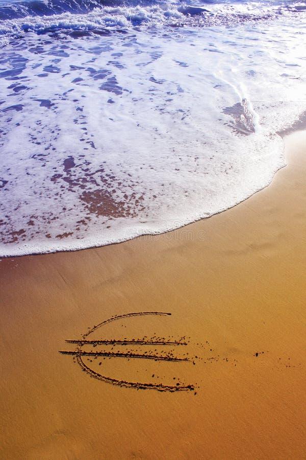 Euro sulla spiaggia immagini stock libere da diritti