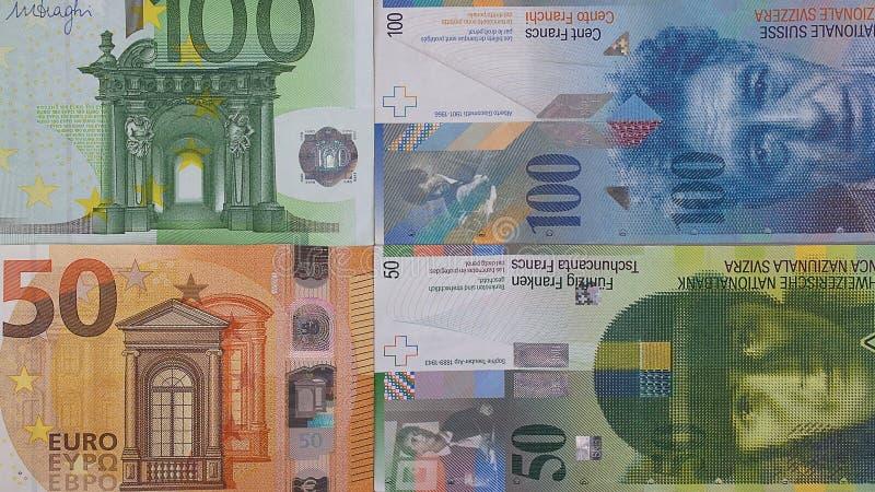 100 euro 50 swiss franc money background. stock image
