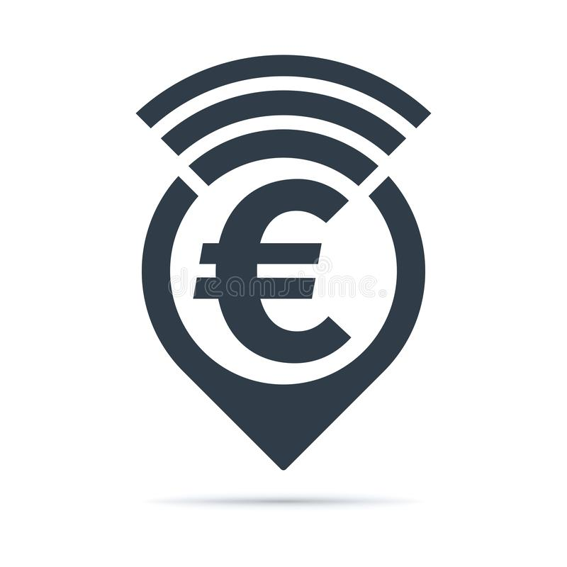 Euro symbol, address pin icon with radio wave. Euro symbol - address pin icon with radio wave on white background. Currency icon design stock illustration