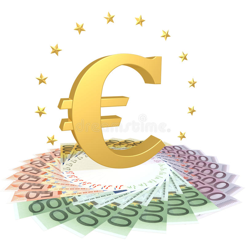Download Euro symbol on the bills stock illustration. Image of many - 24084184