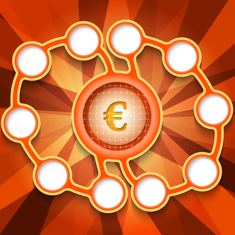 Euro symbol. Eleven abstract circular boxes for your text and euro symbol royalty free illustration