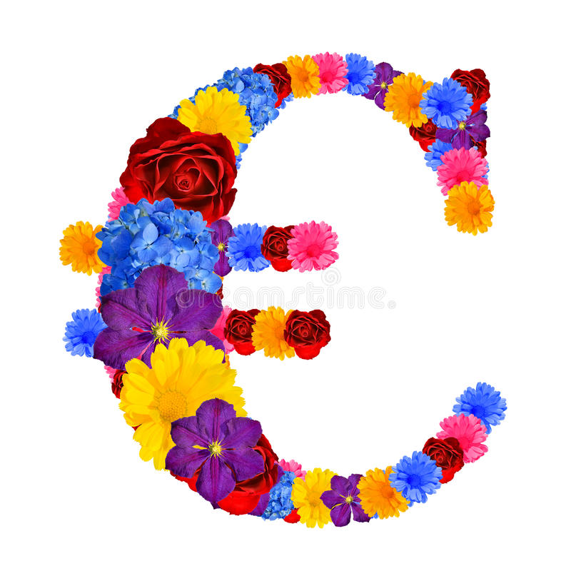 Download Euro symbol from flowers stock image. Image of financial - 39239697