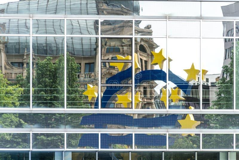 Euro symbol in Frankfurt am Main, Germany stock photography