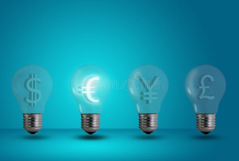 Euro symbol glow among other light bulb stock photography