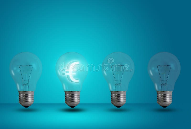 Euro symbol glow among other light bulb royalty free stock image