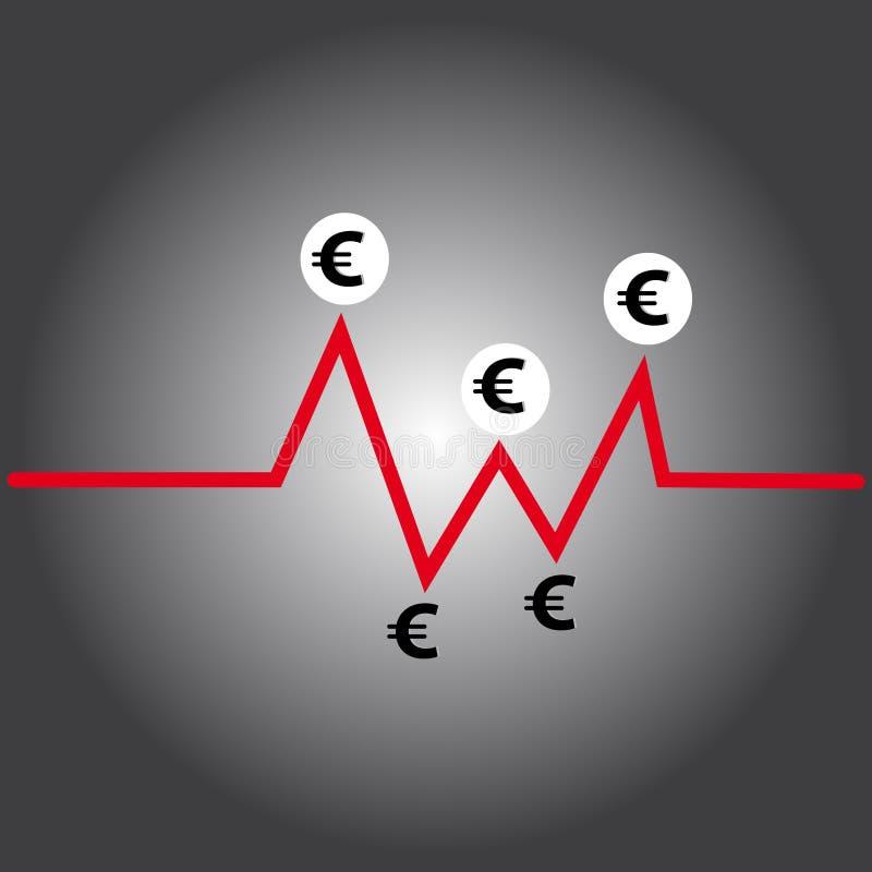 Euro symbol on grey background. Vector illustration royalty free illustration