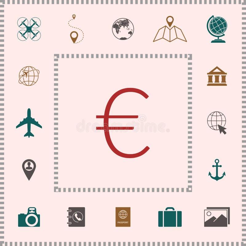 Euro symbol ikona ilustracji