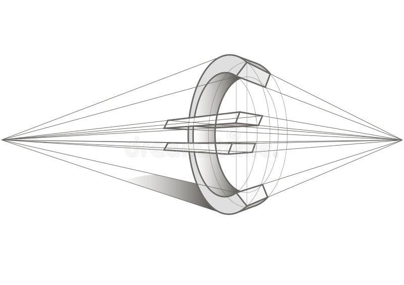 Euro symbol linear sketch stock illustration