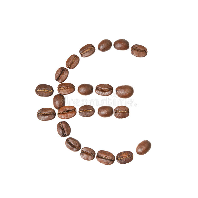 Euro symbol made of coffee beans. Isolated on white background royalty free stock image