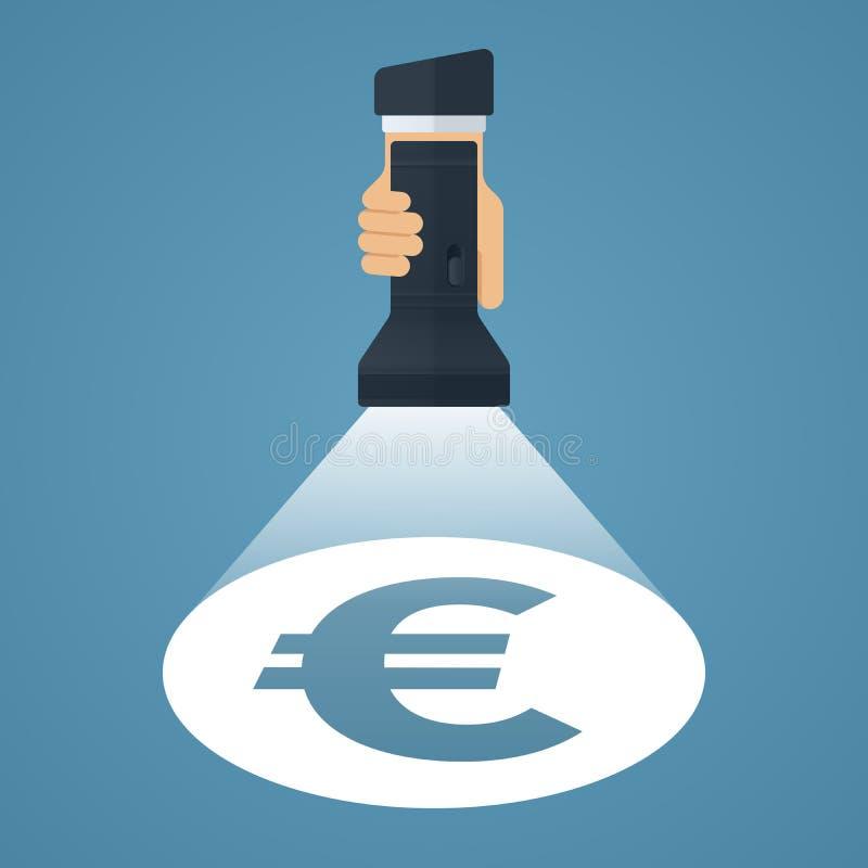 Euro symbol pod światło reflektorów ilustracji