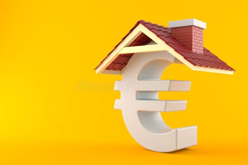 Euro symbol with roof. On orange background royalty free illustration