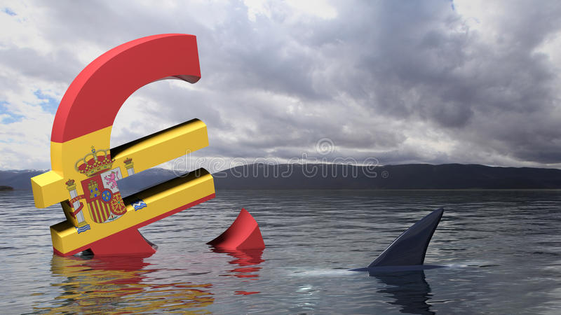 Spain flag sinking in the water stock illustration