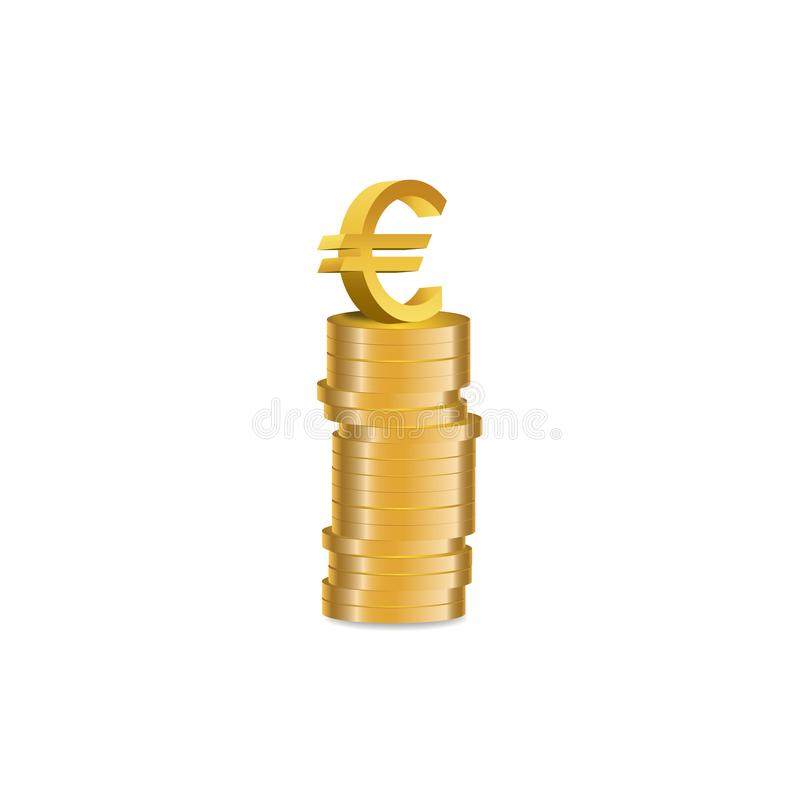 Gold coins stack with Euro symbol -  illustration. Euro symbol at the top of Gold coins stack -  illustration royalty free illustration
