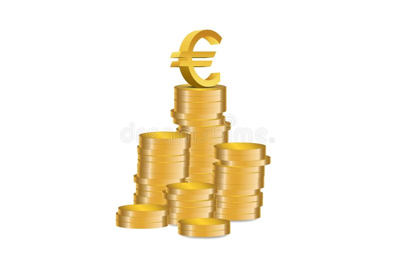 The success of the Euro currency - Illustration. Euro symbol at the top of Gold coins stack -  illustration vector illustration