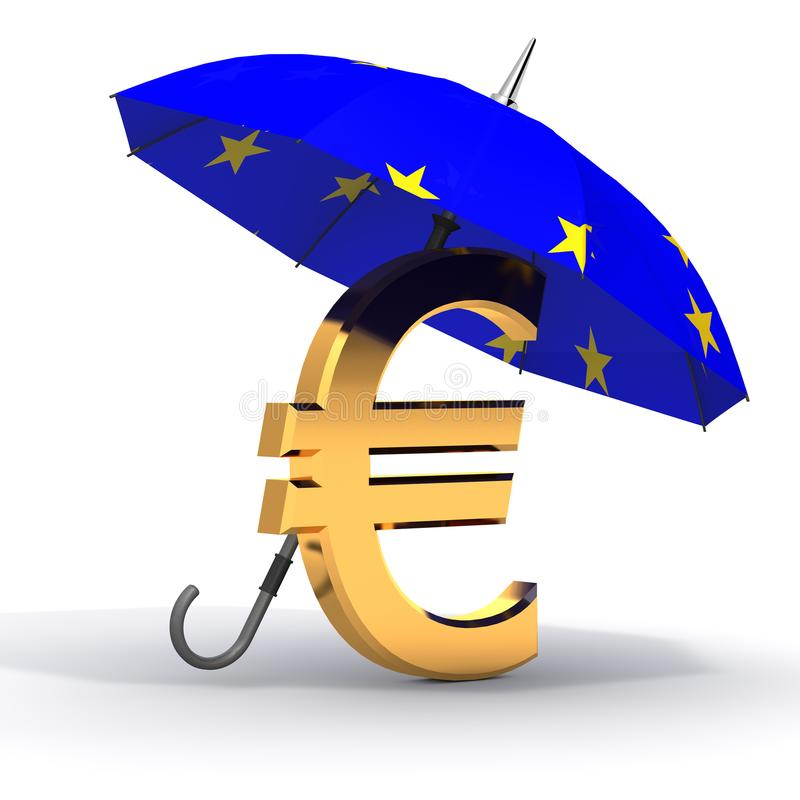 Euro symbol with umbrella. Euro symbol with umbrella protection vector illustration