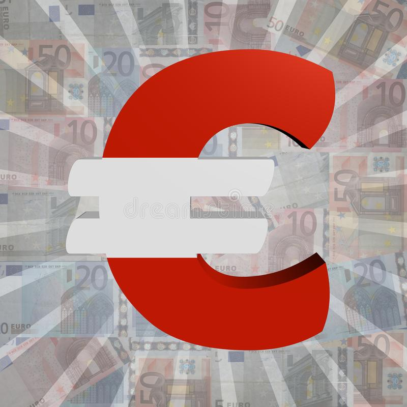 Euro symbol z austriak flaga na Euro waluty ilustraci royalty ilustracja