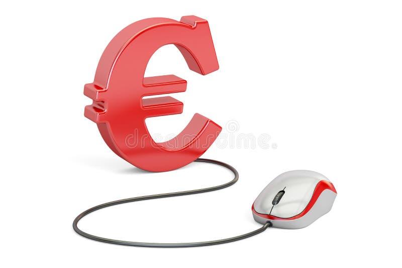 Euro symbol z komputerową myszą Robi pieniądze onlinemu pojęciu, 3D ilustracja wektor