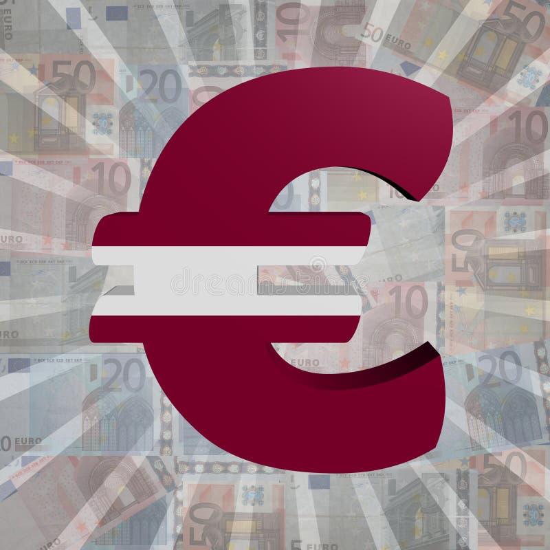 Euro symbol z Latvian flaga na Euro waluty ilustraci royalty ilustracja