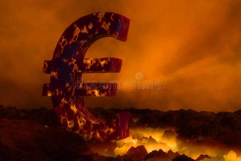 euro symbole 3D brûlant sur la surface de lave illustration stock