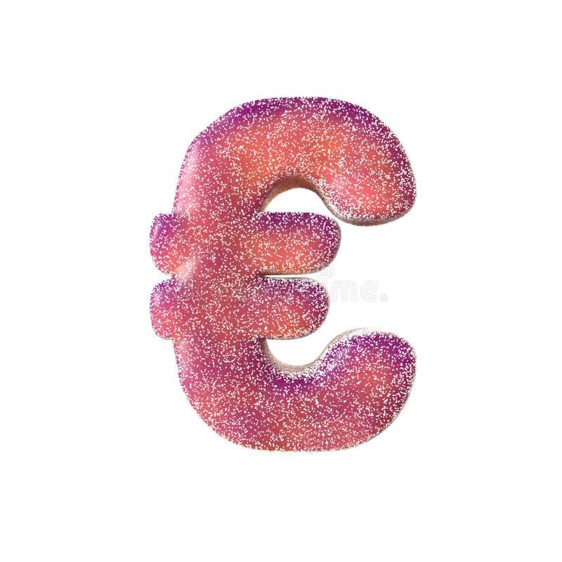 Euro symbole de sucrerie aigre rouge d'isolement sur le fond blanc illustration stock
