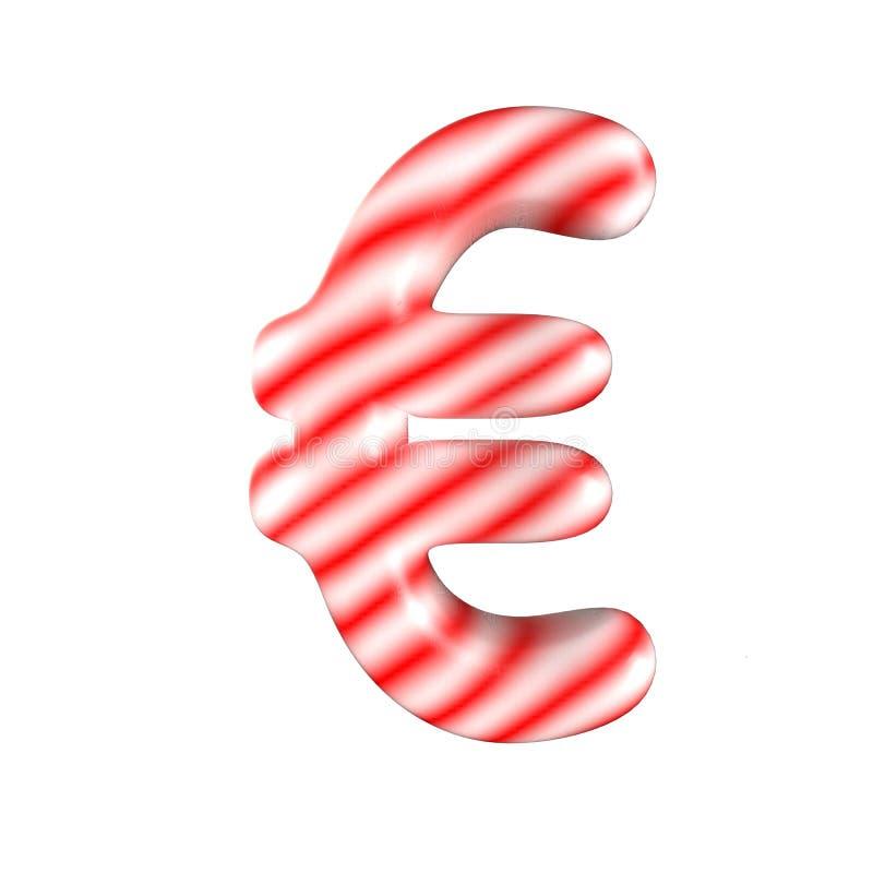 Euro symbole de sucrerie blanche rouge d'isolement sur le fond blanc photo libre de droits