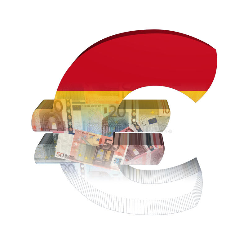 Euro symbole espagnol avec l'indicateur illustration libre de droits