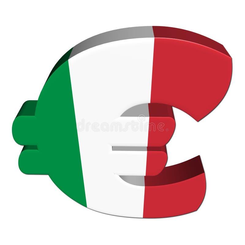 Euro symbole italien avec l'indicateur illustration libre de droits