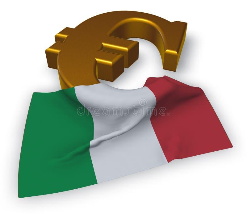 Euro symbolu i włocha flaga royalty ilustracja