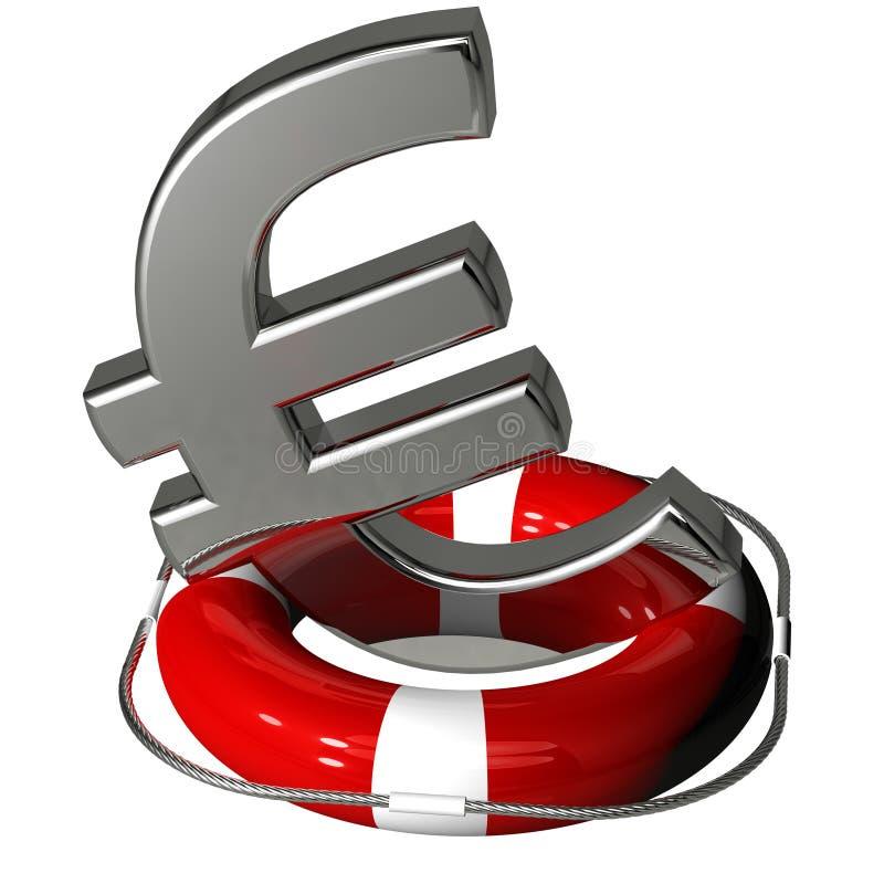Euro symbolu srebro na lifebuoy pontonowej czerwieni royalty ilustracja