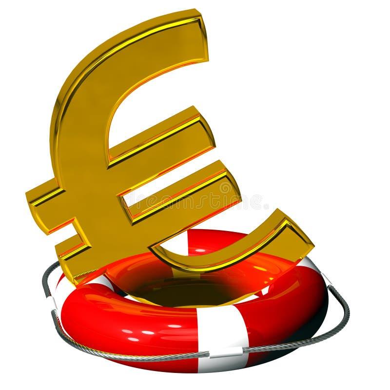 Euro symbolu złoto na lifebuoy pontonowej czerwieni royalty ilustracja