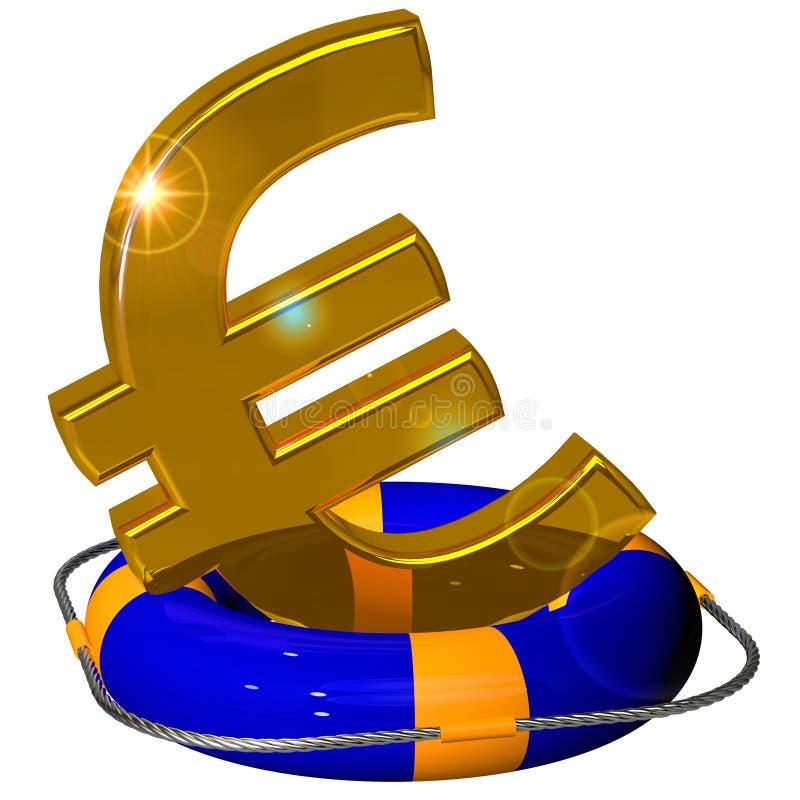 Euro symbolu złoto na lifebuoy pontonowym błękicie ilustracji