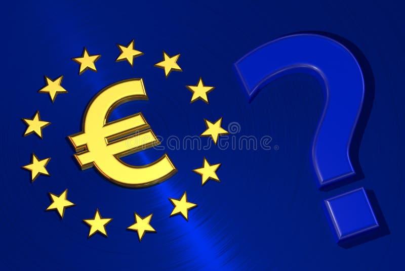Euro symbolu znak zapytania na flaga Europejski zjednoczenie ilustracja wektor