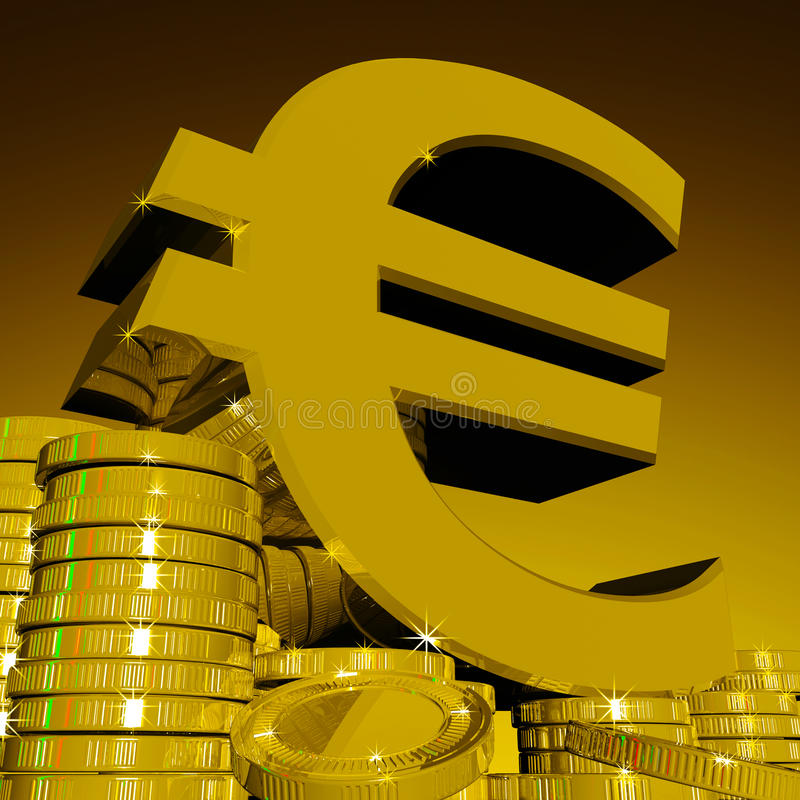 Euro Symbool op Muntstukken die Europese Rijkdom tonen royalty-vrije illustratie