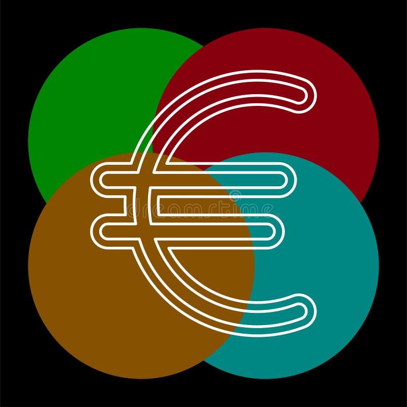 Euro szyldowa ikona, waluta znak ilustracji