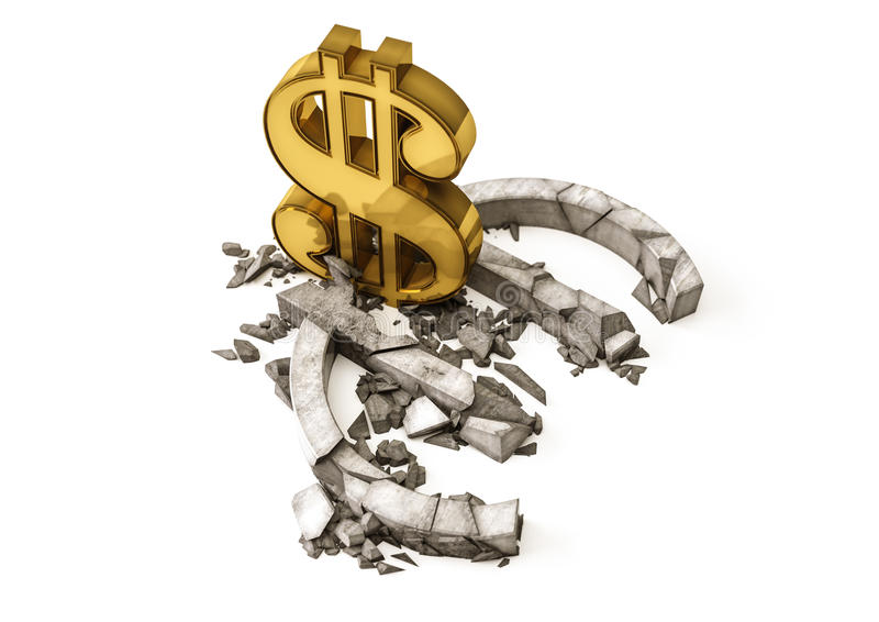 Euro tasso di cambio giù Il simbolo di dollaro dell'oro distrugge l'euro simbolo concreto illustrazione di stock