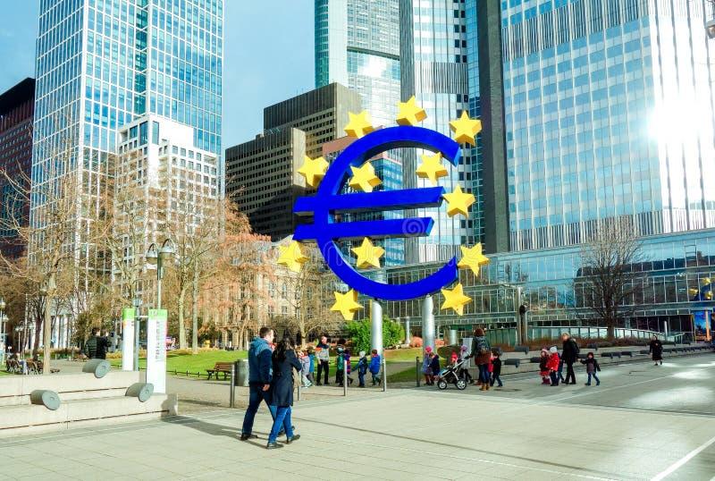Euro teken De Europese Centrale Bank (ECB) is de centrale bank voor t royalty-vrije stock fotografie
