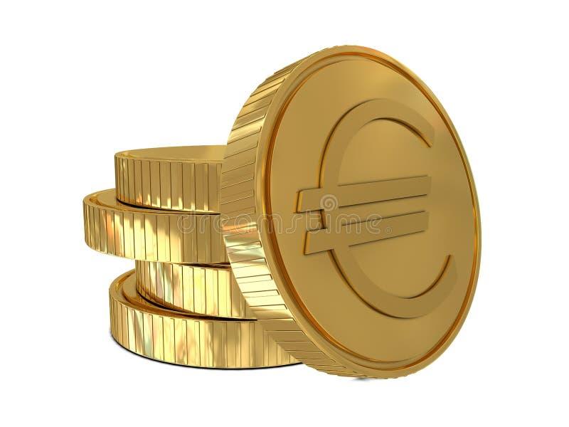 Euro teken in gouden muntstuk stock illustratie