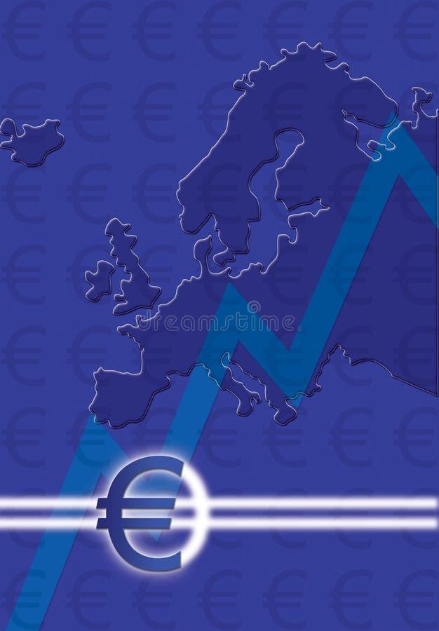 Euro teken met kaart vector illustratie